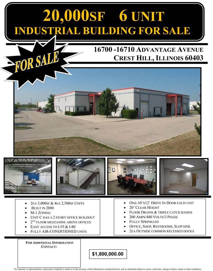 Commercial for Sale at 16700 Advantage Avenue Crest Hill, Illinois 60403 United States